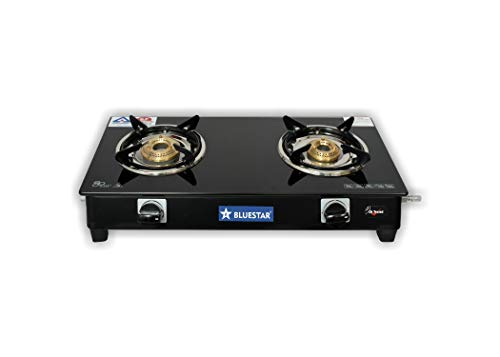 Bluestar 2 Burner Pixel Nano Black Toughened Glass Top, Brass Burner, Manual Ignition LP Gas Stove with 1 Year Warranty (ISI Approved)