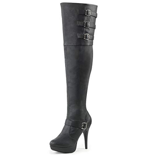 Higher-Heels Pink Label Weite Overknee Stiefel Chloe-308 schwarz Gr. 46