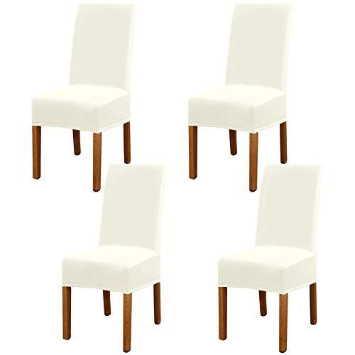 Leeyunbee 4 Piezas Fundas de Sillas de Comedor, Elásticas y Modernas Funda Asiento Silla, Desmontables Lavables Cubiertas para Sillas para Comedor Hotel Banquete de Boda Decoración (Beige)