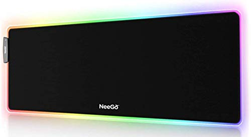 NEEGO RGB Gaming Mouse Pad, LED Soft Large Mousepad with Ajdustable Lighting, USB Port and Smart Memory Function, Anti-Slip Rubber Base, Computer Keyboard Mouse Mat 31.5 x 12 inches