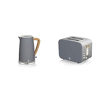 Swan Nordic 1.7 Litre Jug Kettle and 2 Slice Toaster Slate Grey