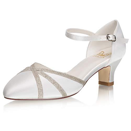 JIAJIA 00969 Zapatos de Novia de Espuma viscoelástica para Mujer, Punta Cerrada,...