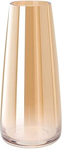 Vaso in vetro,Vaso Grande Alto per Fiori,Vasi Decorativi, vaso decorativo per la casa,in oro, con cono alto, in vetro, decorativo, 10 x 6,5 x 22 cm, spessore 0,3 mm, oro smaltato (1 confezione)