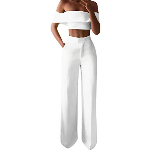 Zarupeng Damen Slim Weite Bein Anzughose Elegante Business Stoffhose Solide Schulterfrei Rüschen Hemd Top + Breites Bein Hosen Anzug