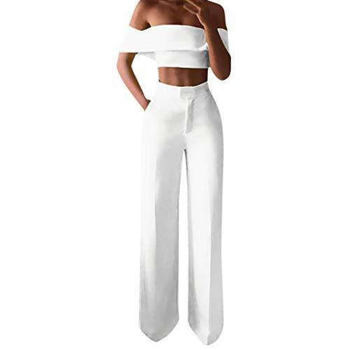 Ansenesna Damen Kleidung Set Schulterfrei Crop Shirt und Hose High Waist Weites Bein Gerade Outfit (Weiss,XL)