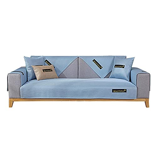 YUTJK El sofá de Seda de Hielo de Verano se Puede Lavar,Cotton Printed Corner Sofa Slipcover,Living Room Fabric Sofa Seat Covers,Furniture Protector Cover,Azul_90×90cm