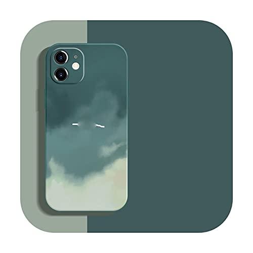 Funda de silicona líquida suave Wartercolor para iPhone 12 Mini 11 Pro Max 11Pro 12Pro Xs X Xr Soft Cover para iPhone 7 8 Plus-QingLv-para iPhone 11 Pro