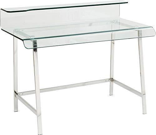 Kare Design Schreibtisch Visible Clear 110x56cm, Glasschreibtisch, moderner Schreibtisch, Schreibtisch aus Glas und Metall, (H/B/T) 88x110x56cm