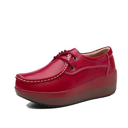 Mocasines Zapatos para Mujer con Cordones Primavera Verano Zapatillas Informales al Aire Libre Suave Estilo Simple Plataforma Mocasín Zapatos de Punta Redonda