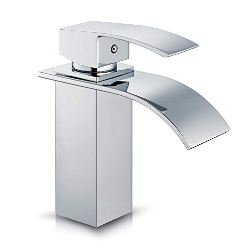 ROVATE Waterfall Brass Bathroom Basin Faucet, Single Handle Sink Mixer Tap Chrome for Vanity Sink (Brass Chrome)