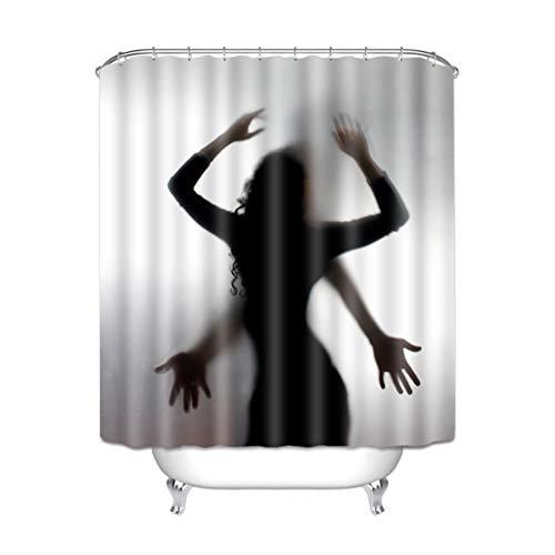 LALAWO Cortina De Baño, Cortina De Ducha De Impresión 3D De Halloween Hombre Invisible Sombra De Terror Cortina De Baño Impermeable con Ganchos,100cm x 180cm(150g)