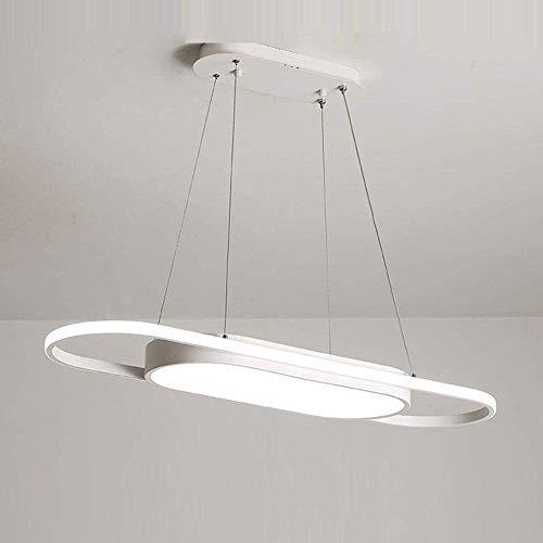HYY-YY Ceiling Light,LED Ring Modern 58W Restaurant Dining Table Hanging lamp Creative White/Black Aluminum Acrylic Living Room Bedroom Study Room L: 90CM Neutral Light 4500K