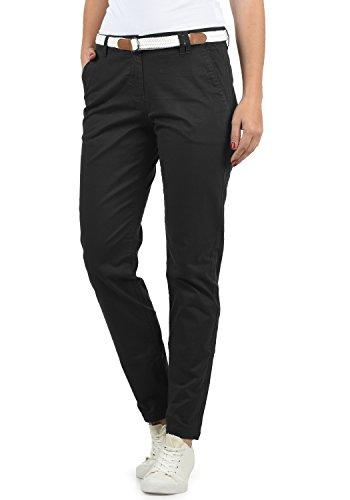 DESIRES Chakira Damen Chino Hose Stoffhose Mit Gürtel Aus Stretch-Material Slim Fit, Größe:38, Farbe:Black (9000)