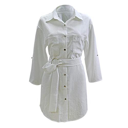ShSnnwrl Modieuze jurk mooie jurk jurk jurk dames nieuwe jurk dames halve mouw jurken met V-hals casual zomerjurk los