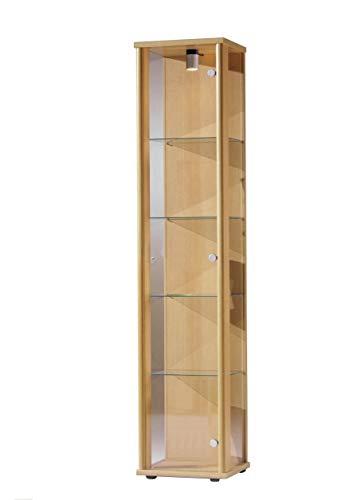 K-Möbel Glasvitrine in Buche Dekor (176x37x33 cm) mit 4 höhenverstellbaren Glasböden aus ESG; beleuchet; perfekt für Sammler;