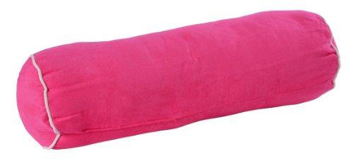 Haus und Deko Nackenrolle Alcantara Optik mit Paspel ca. 15x55 cm Kissen Sitzrolle Kopfkissen Farbwahl #316 (pink mit Paspel weiß)