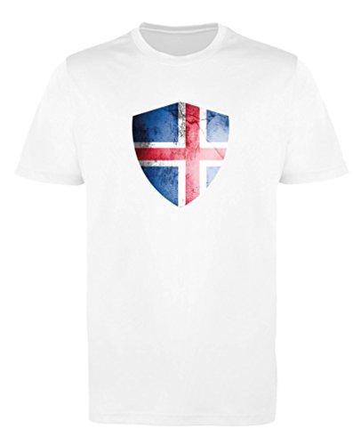 Comedy Shirts - Island Trikot - Wappen: Groß - Wunsch - Jungen Trikot - Weiss/Royalblau Gr. 98-104