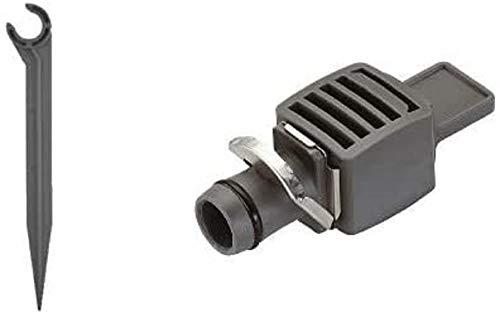 Gardena 1328-26 - Micro-Drip Tube Support, 13mm, Packung mit 20 Stück & Micro-Drip-System Verschlussstopfen, 13 mm (1/2