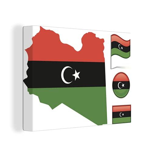Leinwandbild - Illustration mit den Flaggen von Libyen - 120x90 cm