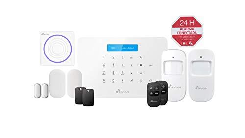 Nivian sistema de alarma antirrobo para hogar sin cuotas –Wifi/GSM–KIT ampliable hasta 60 dispositivos–LCD–Control remoto a través de APP Tuya-Fácil instalación P2P con QR-inalámbrica sin cables