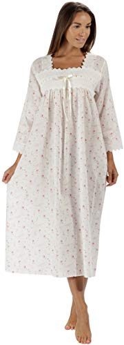 The 1 for U 100% Cotton Nightgown 3/4 Sleeves Laura (Vintage Rose, XL)