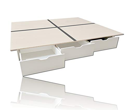 Wasserbetten1a Schubladensockel Weiss inkl. Bodenplatten 200 x 220 cm
