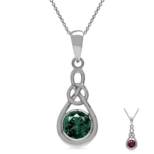 Silvershake 6mm Simulated Alexandrite 925 Sterling Silver Celtic Knot Pendant with 18 Inch Necklace