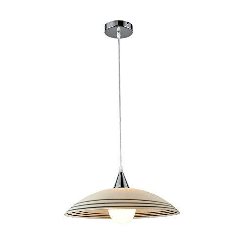 ONLI Hanglamp in glazen frame in verchroomd metaal. Kabel transparant, satijn wit, zwarte strepen