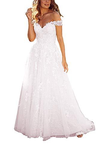 Off Shoulder White Lace Wedding Dress for Bride,Long Lace Appliques Tulle Off Shoulder Bridal Gowns Sequins Prom Formal Dress White Size 10