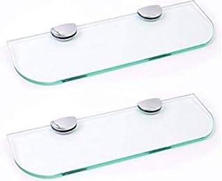 Juego de dos estantes de cristal con esquinas curvadas de 6 mm de grosor, cristal endurecido, transparente, 400 mm x 100 mm, con soportes de acabado cromado