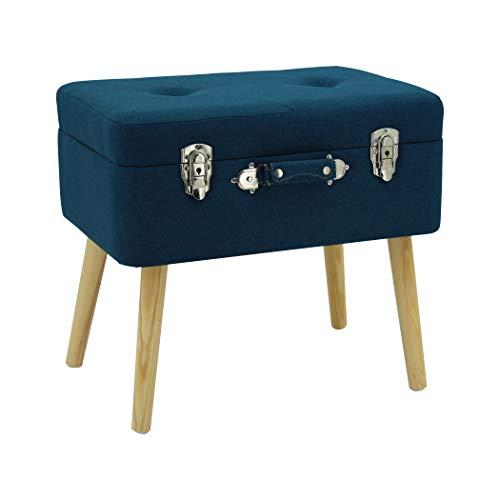 Happy Home Company 13173 - Sgabello con cassapanca e cassapanca con vano portaoggetti in cotone, colore: Blu