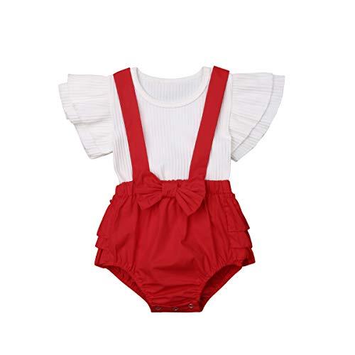 """Conjunto de roupas para bebês meninas, conjunto para irmãs, infantil, floral, com babados, manga curta, babador, body, blusa e shorts, roupa para 0 a 4T, """"Little Sister"""" vermelho, 0-6 meses"""
