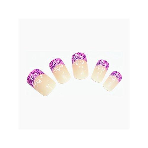 24x Künstliche Nägel French Tips Beige Lila mit Blüten & Pünktchen Nails False Nails High Quality #KP-1001-08
