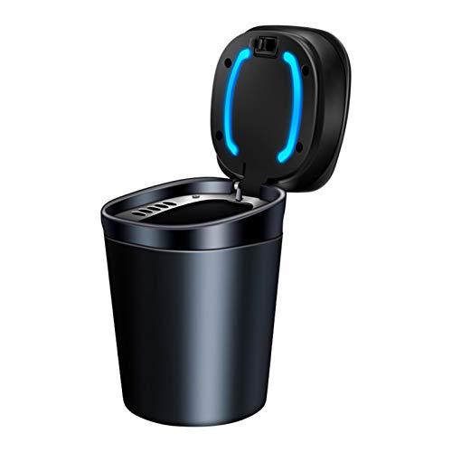 happygirr Cenicero para coche con tapa extraíble de metal y ABS con luz LED, 7,8 x 7,8 x 10,5 cm, para soporte de bebidas, color negro
