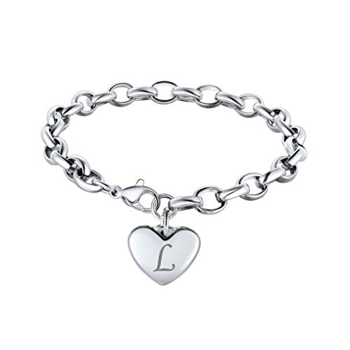 Bandmax Stainless Steel Silver Hollow Link Chain Bracelets 8.7inch,Engraved Personalized 26 Letters Alphabet Heart-Shaped Metal Charm Bracelets Jewelry for Mom Women,18K Gold/Black