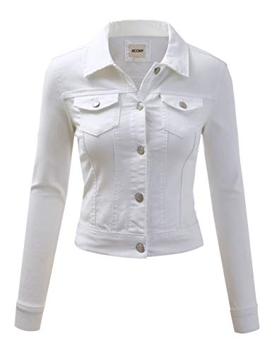 Womens Short White Denim Cropped Jean Jacket with Long Sleeve