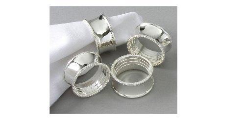 Elegance ronds de serviette à perles argentés Lot de 4 Par Leeber limitée aux États-Unis