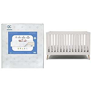 crib bedding and baby bedding delta children essex 4-in-1 convertible baby crib, bianca white with natural legs + delta children twinkle galaxy dual sided recycled fiber core crib and toddler mattress (bundle)