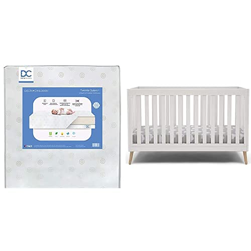 Delta Children Essex 4-in-1 Convertible Baby Crib, Bianca White with Natural Legs + Delta Children Twinkle Galaxy Dual Sided Recycled Fiber Core Crib and Toddler Mattress (Bundle)