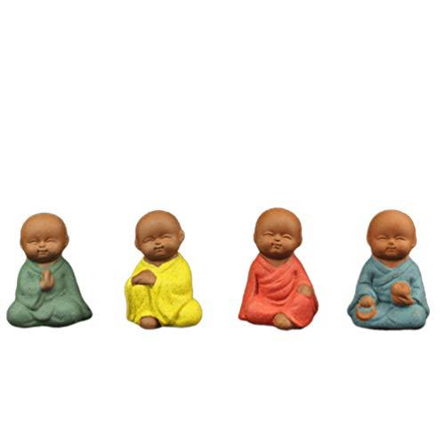 Milisten - 4 peças de bonecos de Little Monk, Pequeno Buda Monk Decorações de estátua Zen Garden, ornamentos, minijardim, paisagem, favoritos, escultura decorativa de mesa, para decoração de casa (estilo misto)