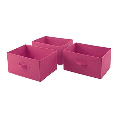 AmazonBasics Cajones de repuesto para unidad de almacenamiento de tela con 4 cajones, rosa chillón