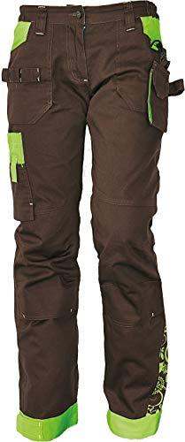 DINOZAVR Yowie Damen Arbeitshose - Stretch Multi Taschen Moderne Outdoorhose - Braun/Grün 40
