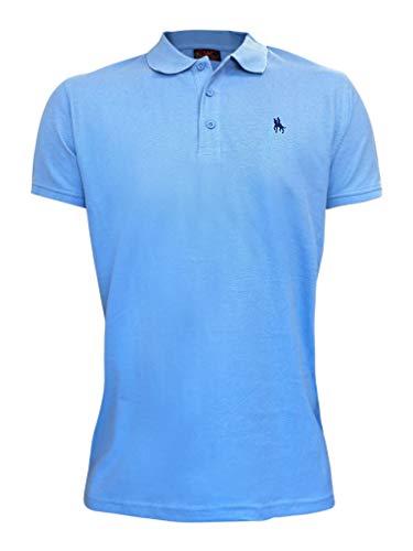 S&C - Polo a maniche corte, da uomo, vestibilità regolare azzurro M