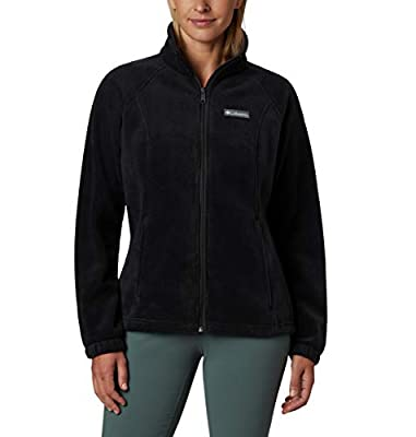 Columbia Women's Plus Size Benton Springs Full Zip Jacket, Soft Fleece with Classic Fit, Black, 3X