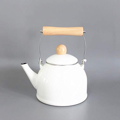 LLine Style Pot 2.0L emaille waterkoker koffiepot bloempot elektromagnetische oven algemene bloempot Inductiekookplaat, licht wit1.4L