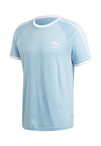 adidas Mens 3-Stripes Tee T-Shirt, Clear Sky, L