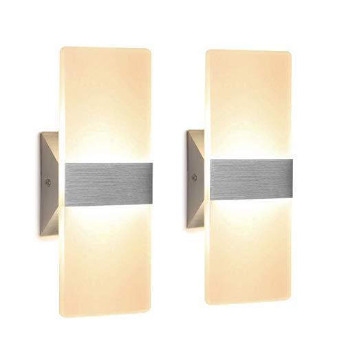 2 Stücke Wandleuchte Innen LED 12W Wandlampe Acryl Wandbeleuchtung Modern für Wohnzimmer Schlafzimmer Treppenhaus Flur | Warmweiß