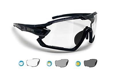 BERTONI Sport Sunglasses Cycling MTB Running Ski Golf BERTONI Sport Sunglasses Cycling MTB Running Ski Golf Removable Sport Prescription Carrier Included mod mod. QUASAR (Black / Photochromic)