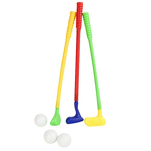 Fridja Mini Golf Club Set for Kids with 3 Golf Clubs 3 Golf Balls Complete Plastic Toys Leisure Sports Game Kit for Children Boys and Girls