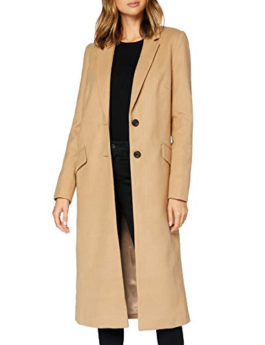 Marca Amazon - find. Abrigo Largo Mujer, Beige (Camel), 36, Label: XS